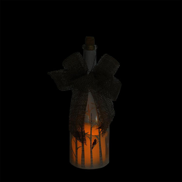 "10"" LED Flameless Pillar Candle in a Clear Glass Bottle Lantern with Bird Accents"""