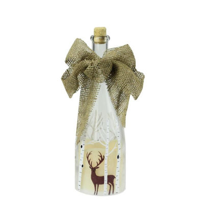 "10"" LED Flameless Pillar Candle in a Clear Glass Bottle Lantern with Deer Accents"""