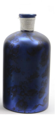 "10"" Seaside Treasures Handcrafted Marbled Indigo and Black Glass Vase"""