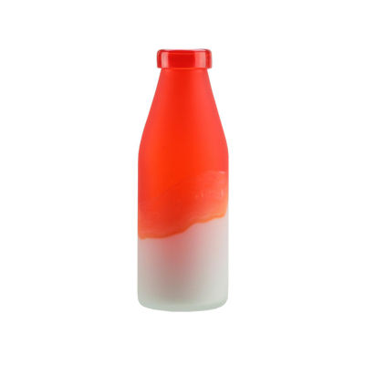 "10.25"" Flame Orange and Frosted White Milk Bottle Style Hand Blown Glass Vase"""