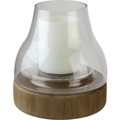"10.25"" Transparent Glass Pillar Candle Holder with Wooden Base"""