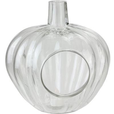 "10.5"" Transparent Glass Pumpkin Shaped Decorative Pillar Candle Holder"""