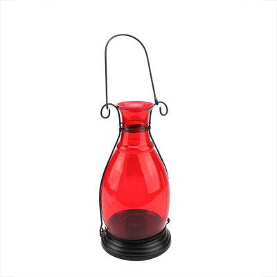 "10.5"" Transparent Red Decorative Glass Bottle Vase Tea Light Candle Lantern"""