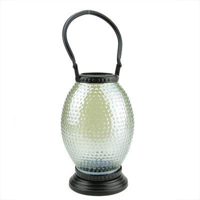 """11"""" Decorative Hammered Luster Hobnail Glass Tea Light Candle Holder Lantern"""""""