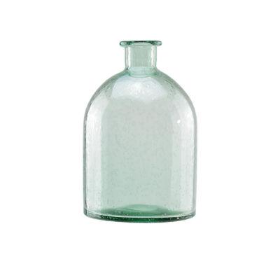 "11.25"" Marine Inspired Light Blue Decorative Hand Blown Bubble Glass Vase"""