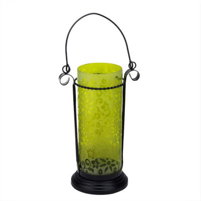 "11.5"" Decorative Yellow Glass Hurricane Tea Light Candle Holder Lantern with Flower Etching"""