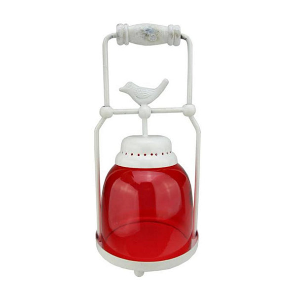 "11.75"" Decorative Red and White Antique Inspired Avian Bird Glass Votive Candle Holder Lantern"""