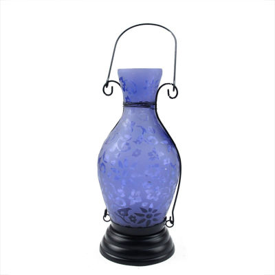 "11.75"" Transparent Blue Decorative Glass Bottle Tea Light Candle Lantern with Flower Etching"""