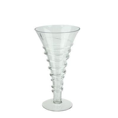 "11.75"" Transparent Glass Trumpet Vase with Decorative Spiral Accent"""