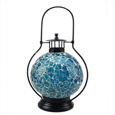 "12"" Decorative Aqua Blue and White Mosaic Glass Tea Light Candle Holder Doom Lantern"""