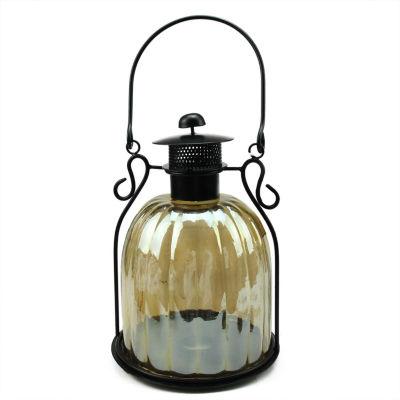 "12"" Decorative Golden Luster Ribbed Glass Tea Light Candle Holder Lantern"""