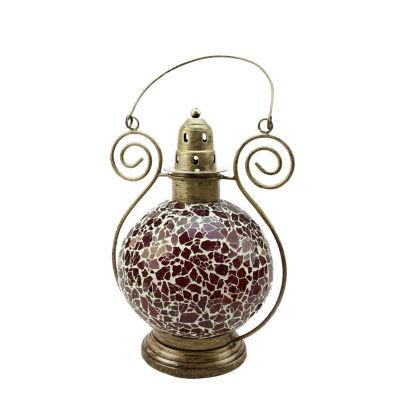 "12"" Decorative Red and White Mosaic Glass Tea Light Candle Holder Doom Lantern"""