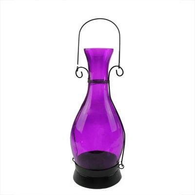 "12.5"" Transparent Purple Decorative Glass Bottle Tea Light Candle Lantern"""