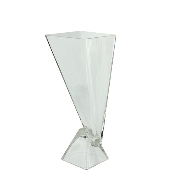"13.75"" Offset Pyramids Abstract Transparent GlassVase"""