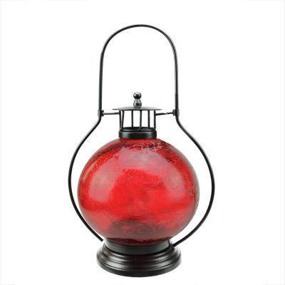 "14.5"" Distressed Red Artifact Glass Tea Light Candle Holder Lantern Decoration"""