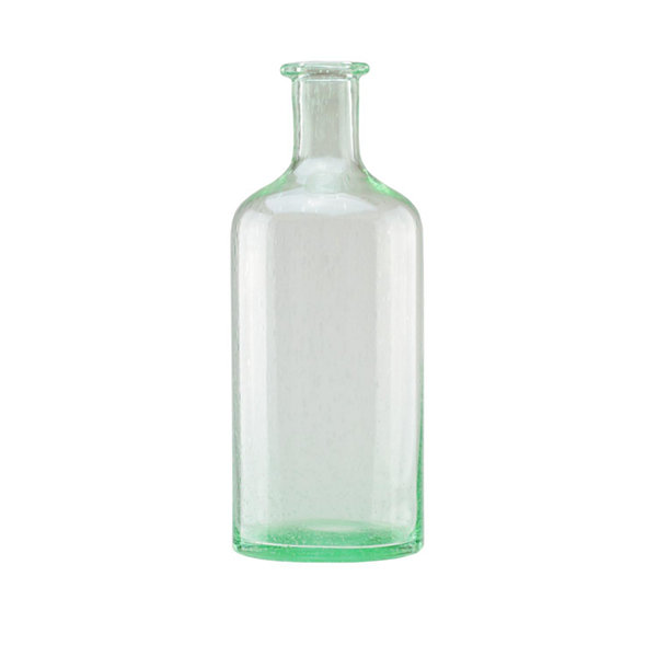 "15"" Bottle Inspired Transparent Spring Green Hand Blown Bubble Glass Vase"""