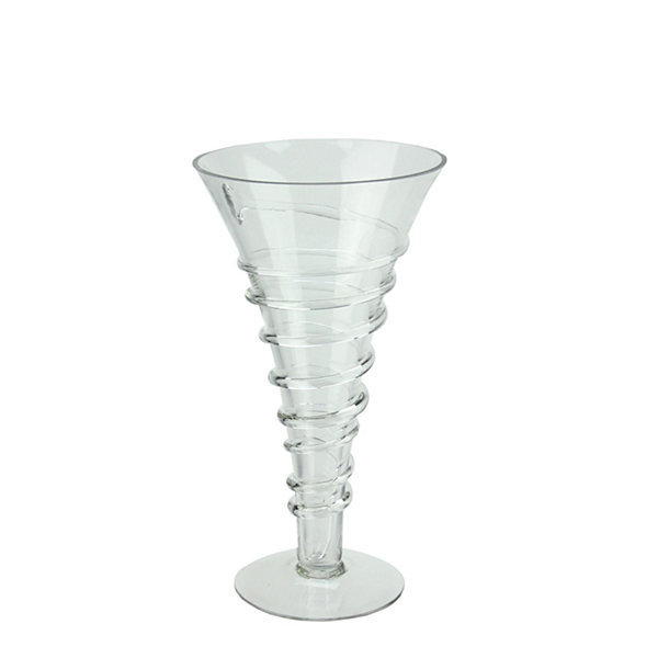 "15.75"" Transparent Glass Trumpet Vase with Decorative Spiral Accent"""