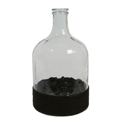 """17.25"""" Beach Day Hand-Made Transparent Recycled Spanish Glass Vase with Black Raffia Band"""""""