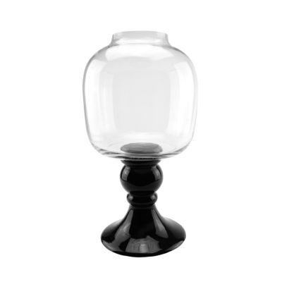 "17.75"" Transparent and Jet Black Glass Pedestal Pillar Candle Holder"""