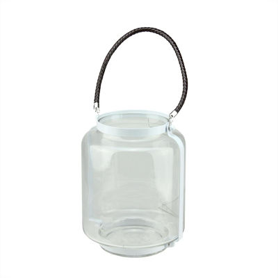 """18"""" Clear Glass Hurricane Pillar Candle Lantern with White Metal Frame"""""""