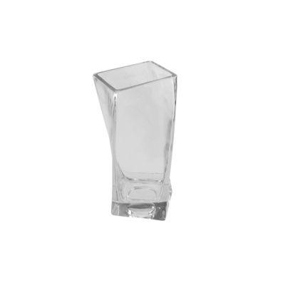 "4.25"" Dual Purpose Twisted Rectangular Transparent Glass Tea Light Candle Holder"""