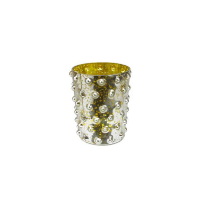 """5"""" Yellow and Silver Hobnail Mercury Glass Decorative Votive Candle Holder"""""""