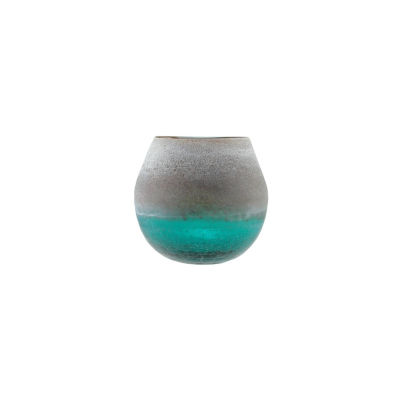 """6"""" Teal Blue Crackled and Brown Frosted Hand BlownDecorative Glass Vase"""""""