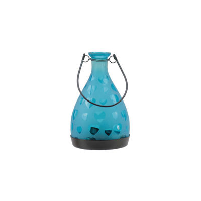 "6.25"" Frosted Hearts Glass Bottle Tea Light Candle Lantern Decoration"""
