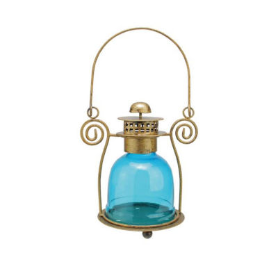 "7.5"" Decorative Blue Glass Bell Tea Light Candle Holder Lantern"""