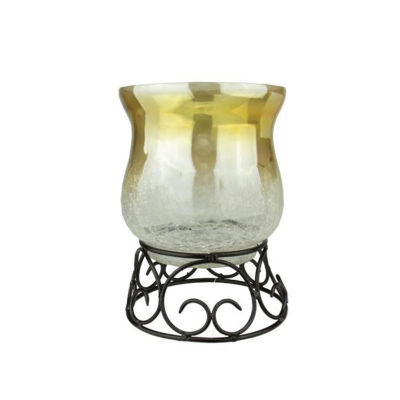 "7.5"" Decorative Golden Luster Crackle Finish GlassPillar Candle Holder with Black Scroll Base"""