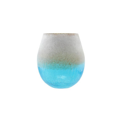 """8"""" Azure Blue Crackled and Brown Frosted Hand Blown Decorative Glass Vase"""""""