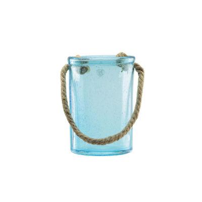 """8"""" Transparent Azure Blue Hand Blown Bubble GlassHurricane with Jute Handle"""""""