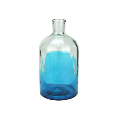 "8.75"" Fancy Fair Hand-Made Transparent Aqua Blue and Clear Two-Tone Recycled Spanish Glass Vase"""