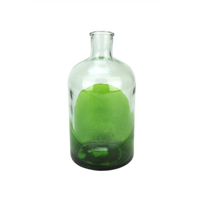 """8.75"""" Fancy Fair Hand-Made Transparent Green and Clear Two-Tone Recycled Spanish Glass Vase"""""""