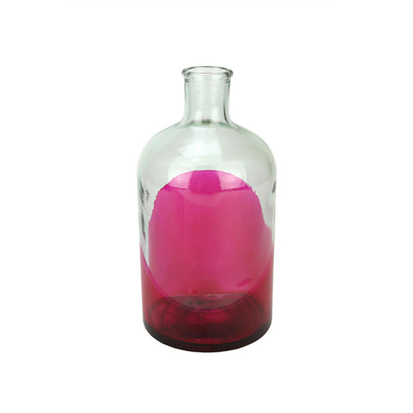 "8.75"" Fancy Fair Hand-Made Transparent Pink and Clear Two-Tone Recycled Spanish Glass Vase"""