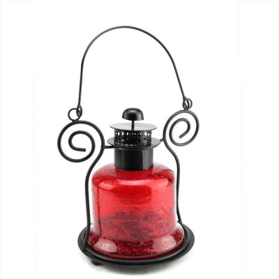"9.25"" Decorative Distressed Red Bell Shaped GlassTea Light Candle Holder Lantern"""