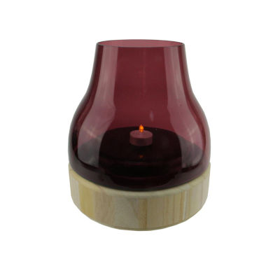 "9.75"" Merlot Colored Glass Pillar Candle Holder with Wooden Base"""