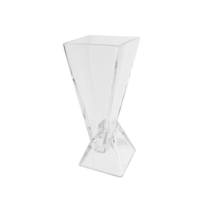 "9.75"" Offset Pyramids Abstract Transparent Glass Vase"""