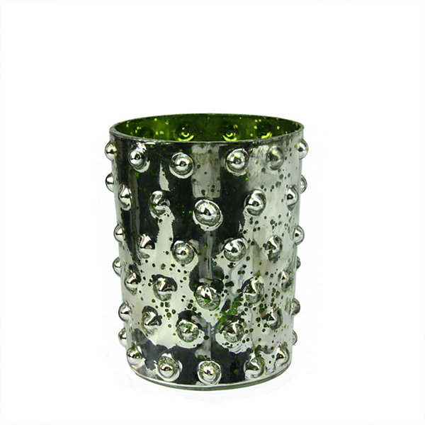 Green and Silver Hobnail Mercury Glass Decorative Votive Candle Holder 5""