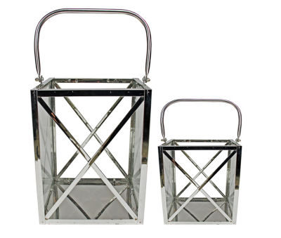 Set of 2 Modern Elegance Metal and Glass Cube Candle Lanterns 8.5""