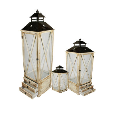 Set of 3 Rustic Brown Wooden Garden-Style Lanterns with Silver Handles 17-49.2""