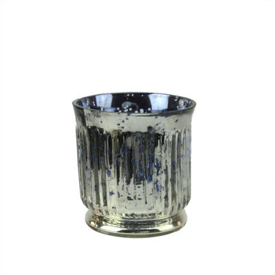 """Set of 4 Blue and Silver Ribbed Mercury Glass Decorative Votive Candle Holders 3.25"""""""