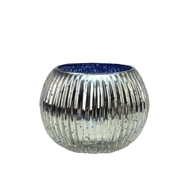 Set of 4 Blue and Silver Ribbed Round Mercury Glass Decorative Votive Candle Holders 3.25""