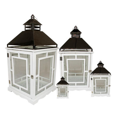 Set of 4 Cottage Style White Wooden Lanterns with Silver Handles 13-35""