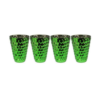"""Set of 4 Green and Silver Textured Mercury Glass Decorative Votive Candle Holders 4.5"""""""