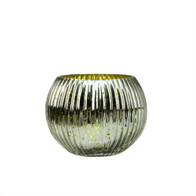 """Set of 4 Lime Green and Silver Ribbed Round Mercury Glass Decorative Votive Candle Holders 3.25"""""""