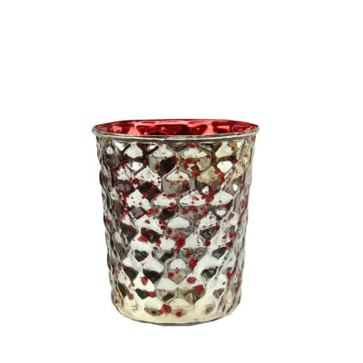 """Set of 4 Red and Silver Hammered Mercury Glass Decorative Votive Candle Holders 4"""""""