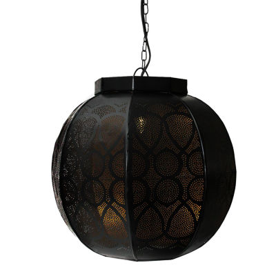 "14"" Black and Gold Moroccan Style Cut-Out Hanging Lantern Pendant Ceiling Light Fixture"""