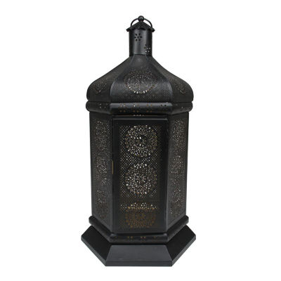 """21.5"""" Black and Gold Moroccan Style Floral Cut-Out Pillar Candle Lantern"""""""