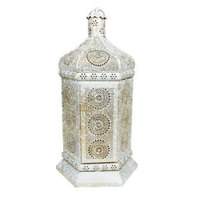 "21.5"" Distressed White and Gold Antique Style Moroccan Floral Cut-Out Table Lantern Lamp"""
